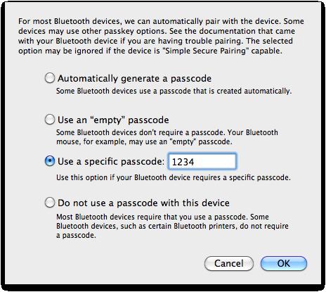 Choosing a passcode